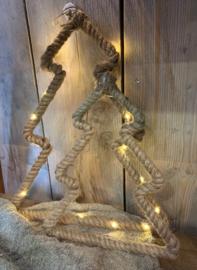 Stoere kerstboom van jute touw met LED verlichting (inclusief batterij