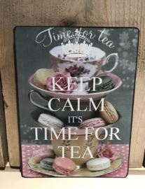 Houten tekstbord  Keep calm its time for tea
