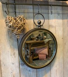 Spiegel aan ring  metal brown
