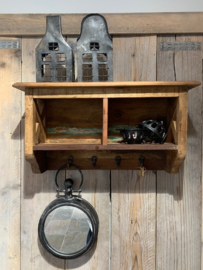 Wooden wall shelf  kapstok met 4 haakjes