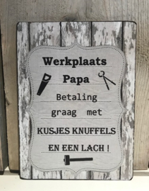 Houten tekstbord Werkplaats Papa