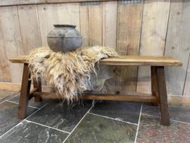 oud houten teak bankje 120