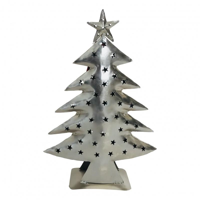Metalen zink kerstboom waxinelicht houder kleur zilver