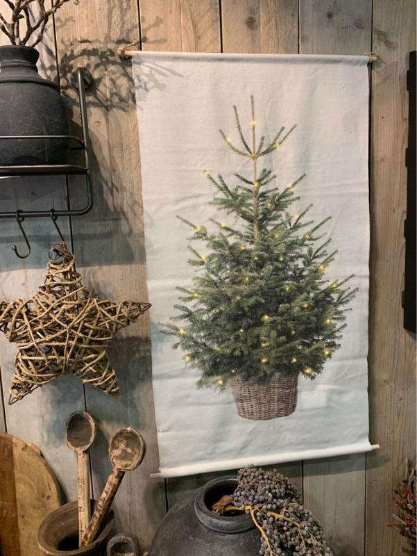 kerstboom met led-verlichting op canvasdoek / wanddoek