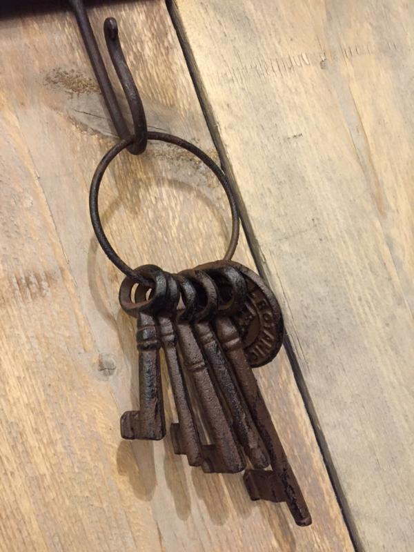 gietijzeren sleutels met munt