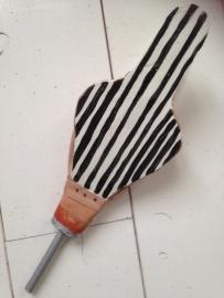 Blaasbalg klein zwart/wit verticale streep