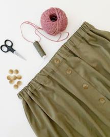 Damesknopenrok linnen/viscose blauw, bruin, groen of naturel