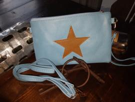 Clutch met star blauw/bruin