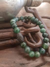 Jaspis groene kralen met lavasteen