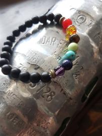 Lavastenen armband met healing balance beads in mooie kleuren