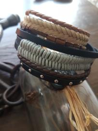 Armbanden set van Leer en Hout