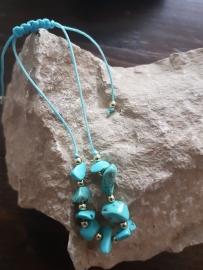 Verstelbaar armbandje turquoise natuursteen