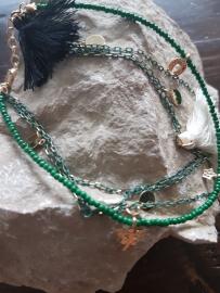Verstelbare enkelbandje (Smaragdgroen) met kleine kwastjes