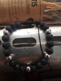 Lavastenen armband met rvs kralen en Vetersluiting