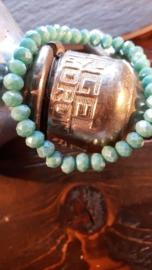 Glaskralen armband, met turquoise opal facet kralen