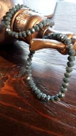 Glaskralen armband, met facet kralen, metal grey en diamond