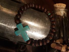 Vintage houten kralen armband met natuurstenen kruis