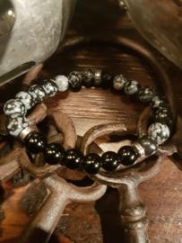 Black jasper met onyx en zilveren kralen
