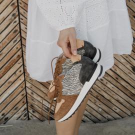 Sadie Zebra in 'Zebra Caramel' leather