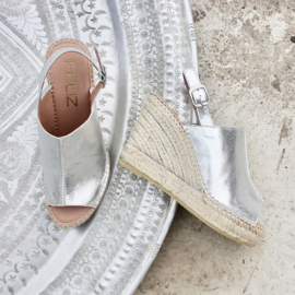 Lynn sleehak espadrille in metallic 'Silver'