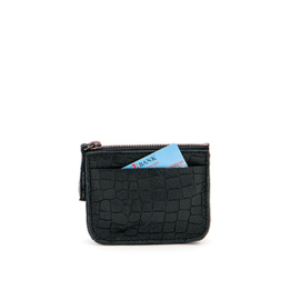 Coin purse in 'Black Croco'