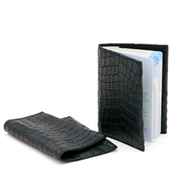 Passport holder in 'Black Croco'