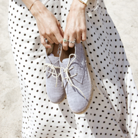Carly Croco lace-up espadrille in 'Grigio'
