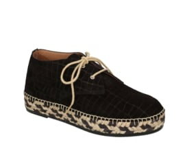 Carly Croco lace-up espadrille in 'Black'