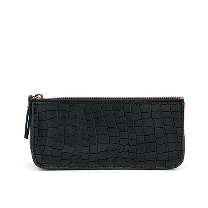 Pencil case in 'Black Croco'