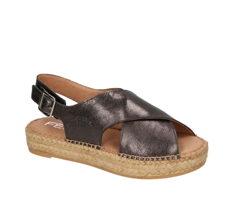 Carina sandal espadrille in metallic 'Fumo'
