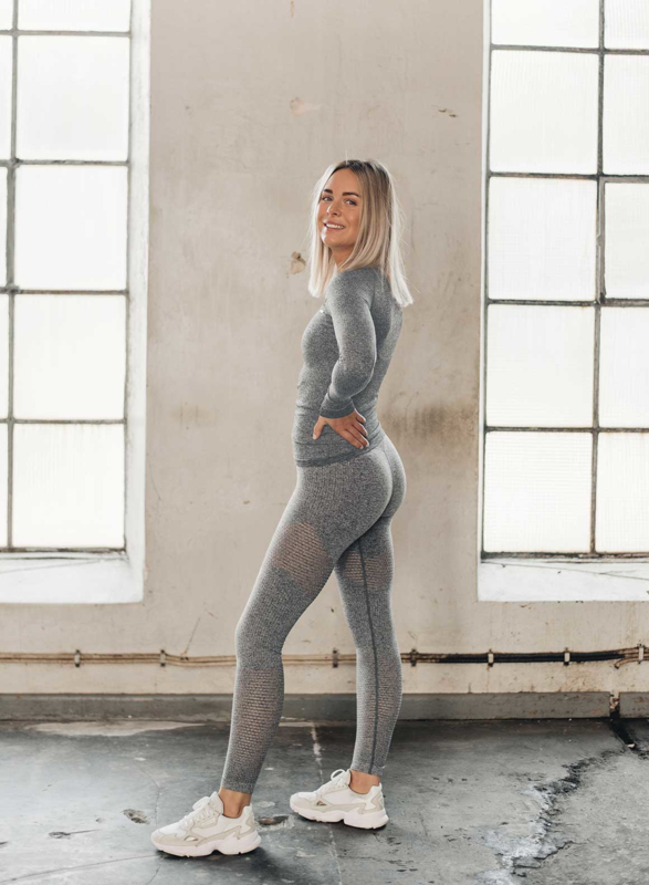 AIM'N GREY MELANGE RIBBED LONG SLEEVE