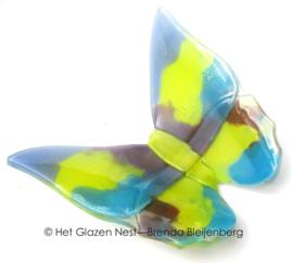 vlinder in geel, lila en paars