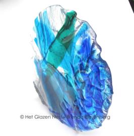 blauwe cirkel in grillig glas