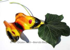 geel en oranje vlindertje met zwarte randjes