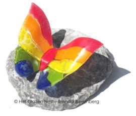 regenboogvlinder op basalt steen