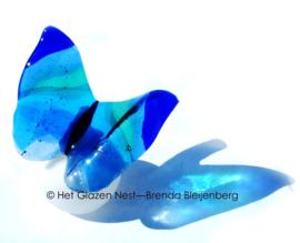Grote blauwe vlinder op witte bol-urn