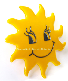 zonnetje met gezicht als glas ornament