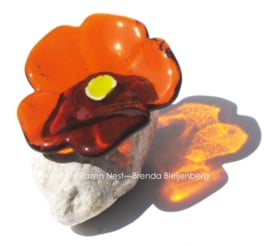 abstract oker geel bloemetje op steen