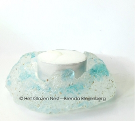 waxinelichtje met blauwe spikkels