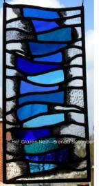 "Glas in lood raam ""Boekenstapel in blauw"""