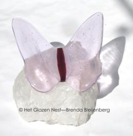 Transparante vlinder op bergkristal