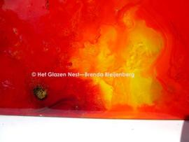"""Glas sculptuur """"ondergaande zon"""""""
