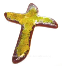 Klein kruis in bruin en geel
