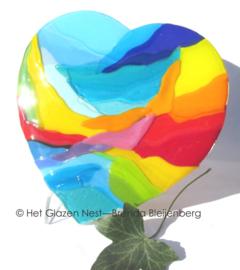 Kleurig hart van glaskunst