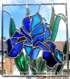 """Glas in lood raam """"blauwe lelie"""""""