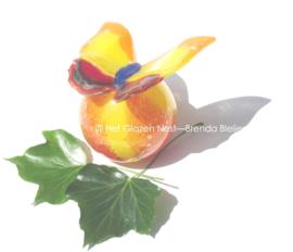 Geel en oranje vlinder  bol urn van glas