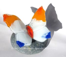 vlinder in wit, oranje en blauw op ijsland steen