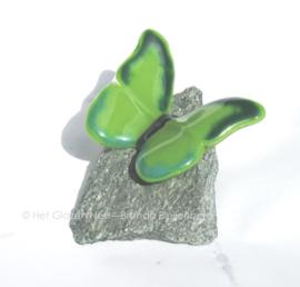 Grasgroene vlinder op groene steen