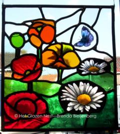 """Glas in lood raam """"Margriet en papavers"""""""