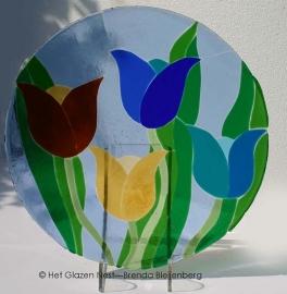 """Schaal in fusing glas """"tulpen"""""""